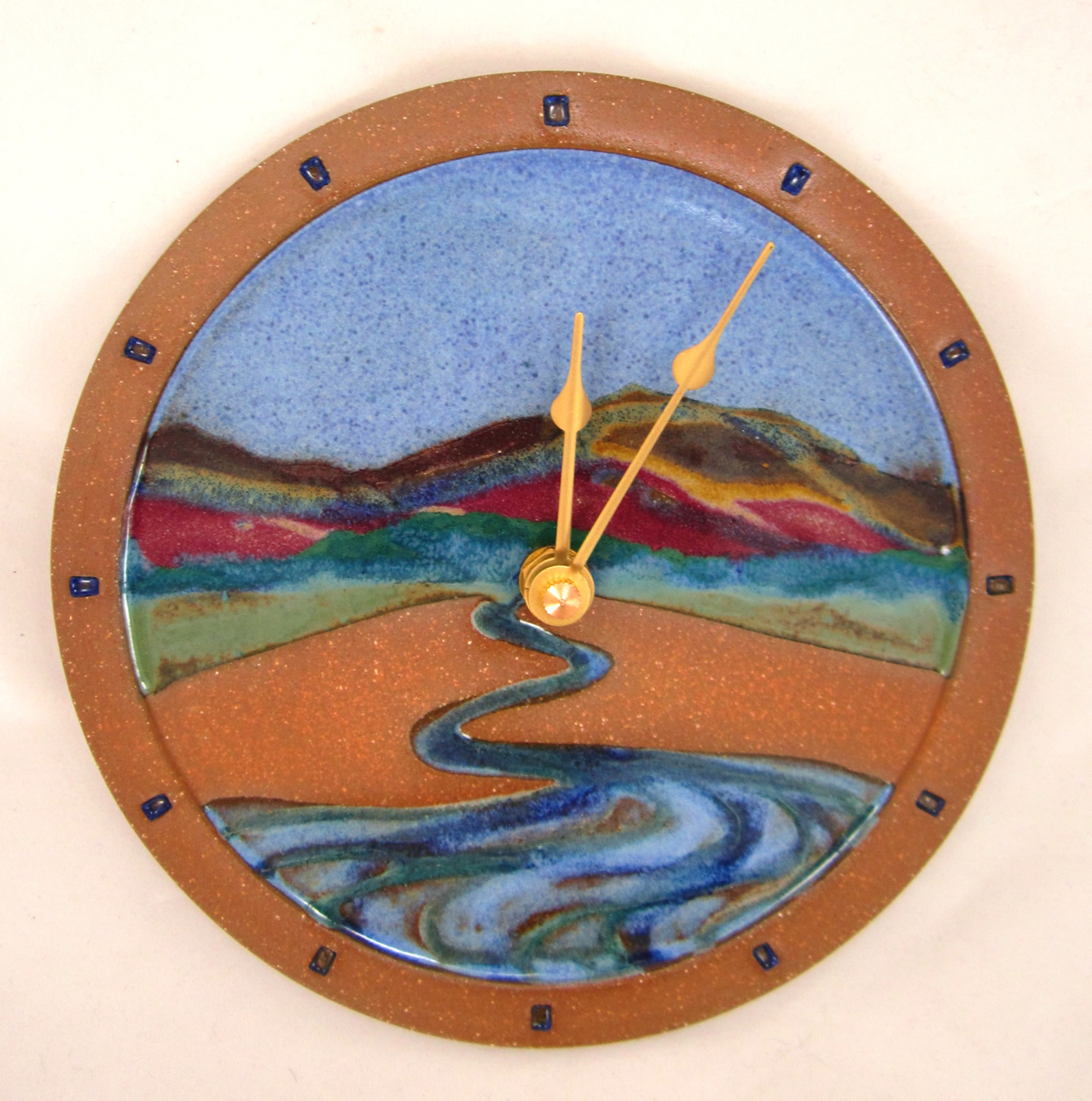 Sarah russell pottery clocks water clock opal with autumn mountains and stream small 62548 large 97572 amipublicfo Choice Image